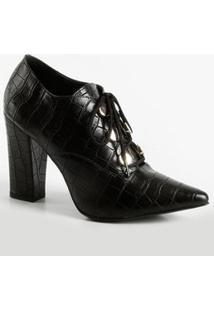 Bota Feminina Ankle Boot Textura Croco Via Uno