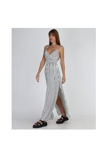 Vestido Feminino Longo Listrado Transpassado Alça Fina Off White