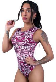 Body Camiseta Collant Cavado Suplex Estampado Feminino - Feminino