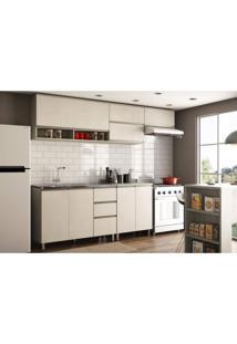 Cozinha Compacta 5 Peças Com 8 Portas 3 Gavetas Anita Siena Móveis Legno Crema/Linho