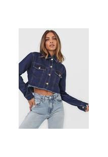 Jaqueta Jeans Lança Perfume Cropped Desfiada Azul