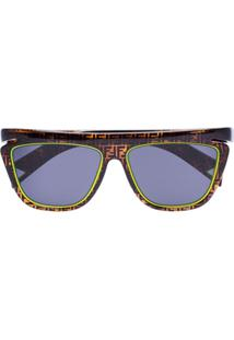 Fendi Eyewear Óculos De Sol Com Logo Ff E Detalhe Neon - Marrom