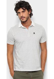 Camisa Polo Nyc - Norwich Yatch Club Listrada Masculina - Masculino-Cinza+Branco
