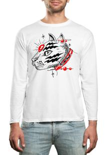 Camiseta Manga Longa Hshop Catz Branco