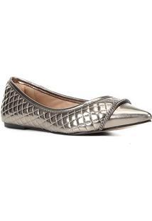 Sapatilha Shoestock Bico Fino Matelassê Corrente Feminina - Feminino-Prata+Preto