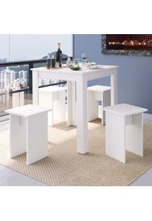 Mesa De Jantar 4 Lugares Cj700 Branco - Art In Móveis
