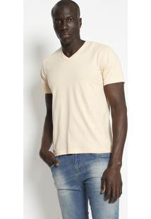 Camiseta Slim Fit Lisa Com Bordado - Bege Claro- M. M. Officer