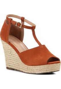 Sandália Plataforma Shoestock Corda Nobuck Feminina - Feminino-Caramelo