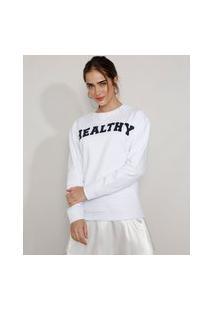 """Blusão De Moletom Feminino Mindset Healthy"""" Branco"""""""