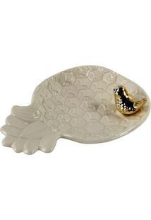 Bandeja Decorativa Abacaxi- Branca & Dourada- 4X15,5Full Fit