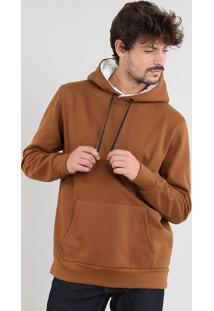Blusão Masculino Em Moletom Capuz Com Pelo E Bolso Caramelo