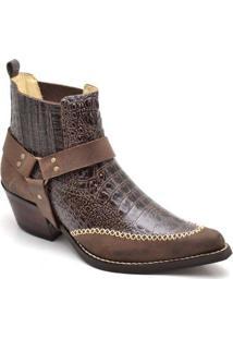 Bota Top Franca Shoes Country Bico Fino Anaconda Masculina - Masculino-Café