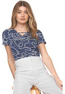 Blusa Cativa Estampada Azul-Marinho/Branca