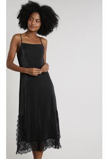 Vestido Slip Dress Feminino Mindset Midi Acetinado Plissado Com Renda Alça Fina Preto