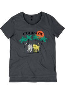 T-Shirt Mullet Em Malha De Algodão Com Estampa E Bordado