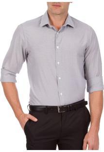 Camisa Social Masculina Preta Listrada