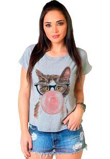 Camiseta Shop225 Gato Fashion Mescla - Cinza - Feminino - Dafiti
