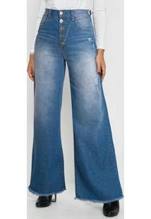 Calça Jeans Wide Leg Cintura Alta Azul