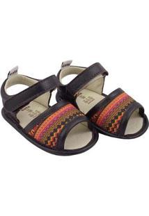 Sandália Catz Calçados Couro Lolla Hippie Feminina - Feminino-Preto