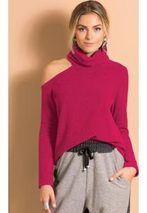 Blusa Com Gola Alta E Ombro Vazado Pink