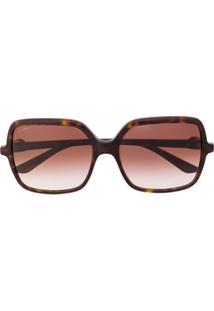 Cartier Eyewear Óculos De Sol Quadrado C Décor - Marrom