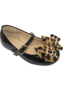 Sapato Boneca Com Laã§O- Preto & Marrom Claroprints Kids