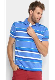 Camisa Polo Aleatory Masculina - Masculino-Azul+Branco