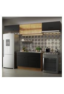Cozinha Compacta Madesa Agata 280001 Com Armário E Balcáo - Rustic/Preto Marrom