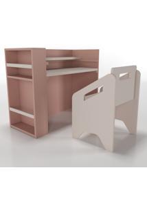 Escrivaninha+Cadeira+Porta-Livros Lumi Rosa Timber - Tricae