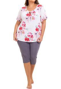 Pijama Capri Liganete Floral Papoula Sepie (2461) Plus Size