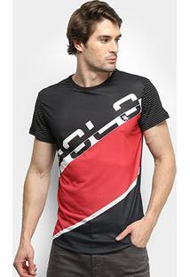 Camiseta Polo Rg 518 Estampada Masculina - Masculino-Preto