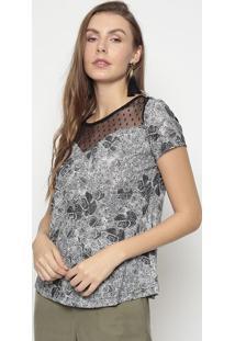 Blusa Floral Com Tule Poã¡- Preta & Branca- Mirasulmirasul