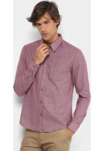 Camisa Xadrez Calvin Klein Slim Mini Masculina - Masculino-Bordô