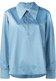 Tibi Camisa Polo Com Zíper Frontal - Azul