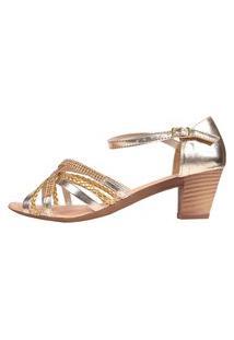 Sandália Romântica Calçados Salto Grosso Dourado