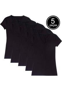 Kit Com 5 Blusas Femininas Part.B Decote V Preta