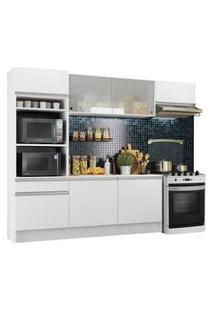 Cozinha Completa Madesa Topazio Com Armário, Balcão E Tampo Branco Branco