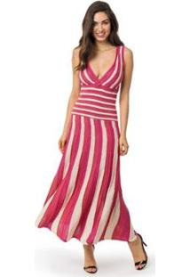 Vestido Pink Tricot Longo Plissado Listrado Feminino - Feminino-Vermelho