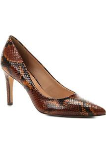 Scarpin Couro Shoestock Snake Salto Alto Bico Fino - Feminino-Marrom