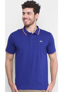 Camisa Polo Lacoste Básica - Masculino-Azul+Laranja