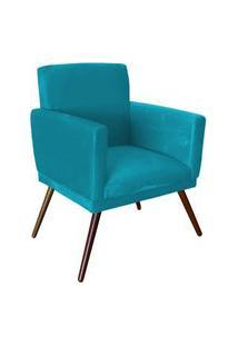 Poltrona Decorativa Nina Rodapé Suede Azul Turquesa - Ds Móveis