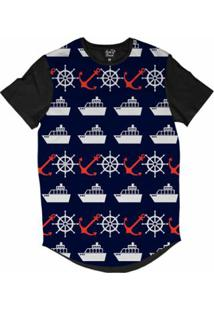 Camiseta Longline Long Beach Náutica Masculina - Masculino-Azul