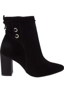 Ankle Boot Via Marte Salto Bloco Nobuck Preto