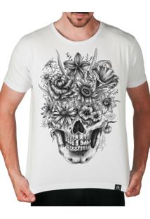 Camiseta Artseries Caveira Com Flores Branco