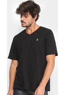 Camiseta U.S. Polo Assn Gola V Masculina - Masculino-Preto