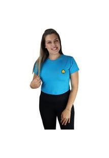 Cropped Camiseta Feminino Emoji Língua Cor Do Verão Azul