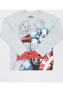 Camiseta Infantil Capitão América Manga Longa Cinza Mescla