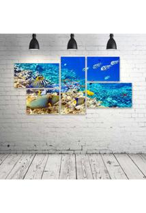 Quadro Decorativo - Underwater-World-Ocean-Fish-Coral-Reef - Composto De 5 Quadros