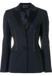 Versace Blazer Com Pesponto Aparente - Azul
