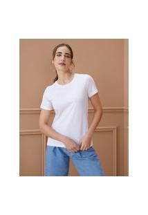 Amaro Feminino T-Shirt Slim De Algodão Pima Gola Redonda, Branco